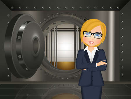woman in the bank vault Zdjęcie Seryjne