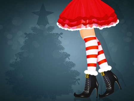 woman legs with striped socks for Christmas Zdjęcie Seryjne - 132000880