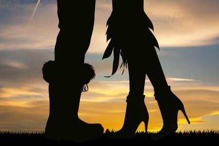 silhouette of witches and Santas legs Zdjęcie Seryjne