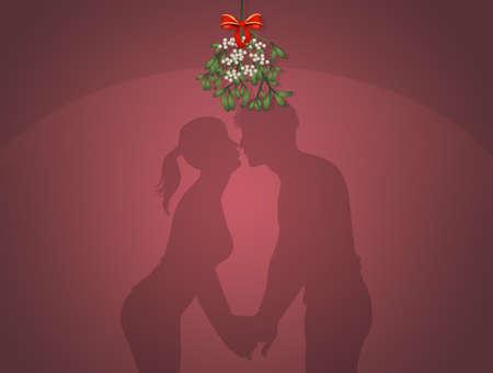 kiss under the mistletoe on New Year's Eve Zdjęcie Seryjne - 131436747