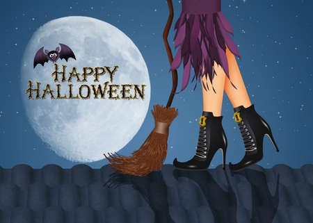 illustration of Halloween postcard with witch legs on the roof
