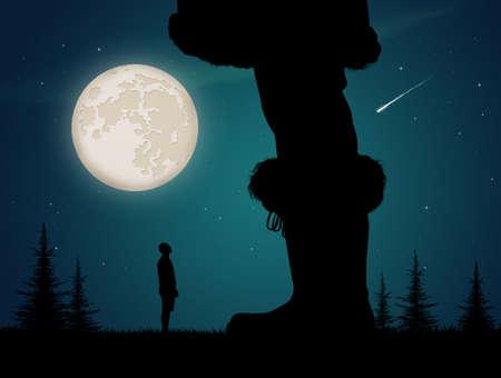illustration of man looking at giant Santa Claus
