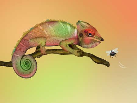 illustration of chameleon in the jungle Zdjęcie Seryjne - 132000976