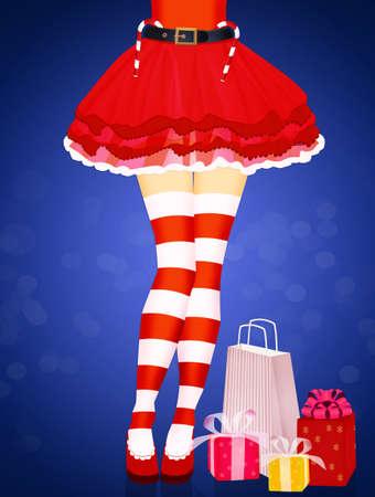 woman legs color red socks Christmas Zdjęcie Seryjne - 132000986