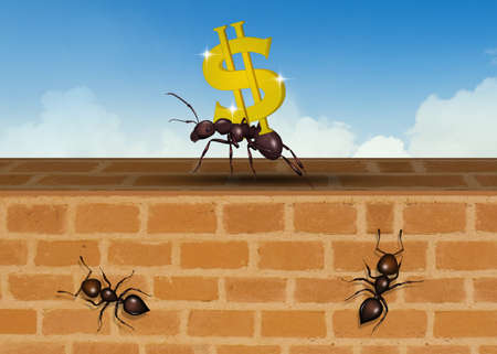 illustration of ants team up for success