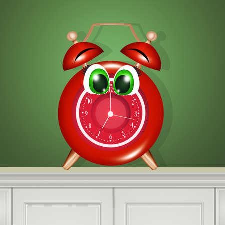 illustration of alarm clock with funny face Zdjęcie Seryjne - 131435749