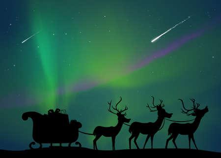 Santa sleigh with reindeer Zdjęcie Seryjne