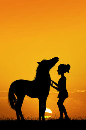 little girl and horse at sunset