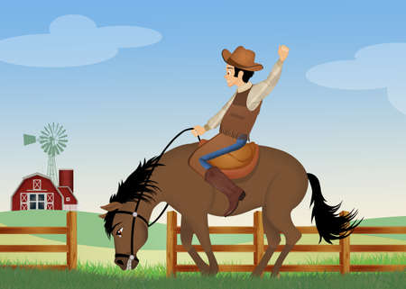 illustration of man on a rodeo horse Imagens - 132206765