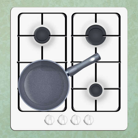 illustration of cooker with pan