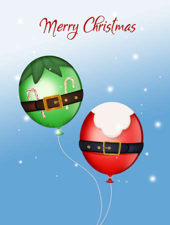 illustration of balloons of Santa Claus and elf