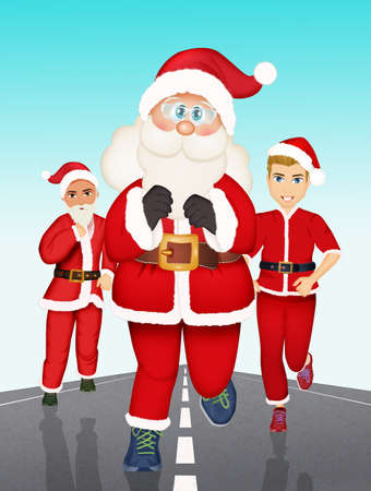 illustration of run of the Santa Clauses