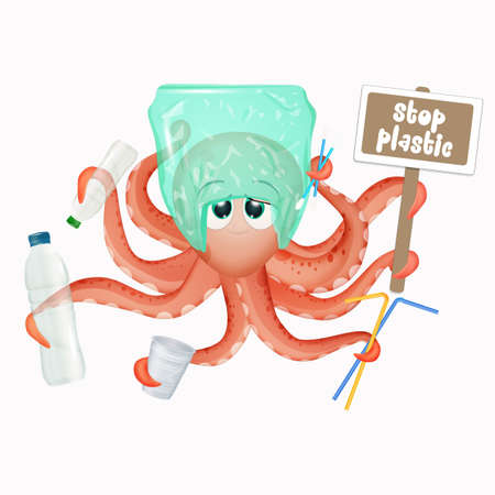 octopus with plastic waste icon