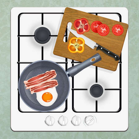 illustration of cooker with pan and ingredients
