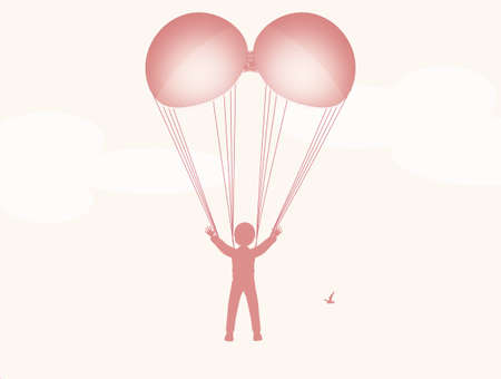 illustration of bra in the shape of a parachute