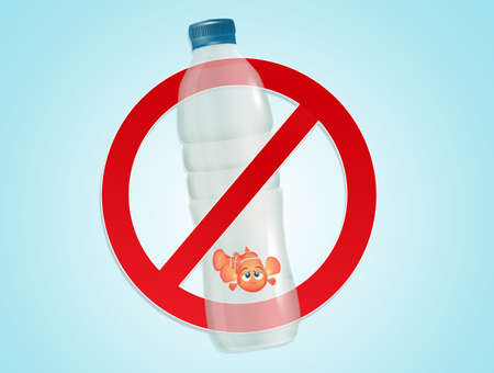 little goldfish trapped in the plastic bottle