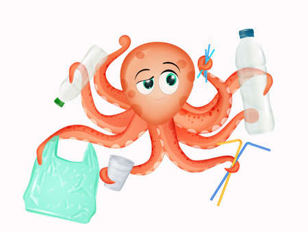 octopus with plastic waste