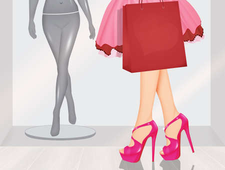illustration of women love shopping Stock Photo