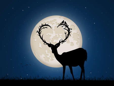 illustration of deer with horns a heart shape in the moonlight