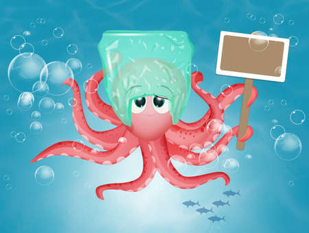 illustration of octopus with plastic waste