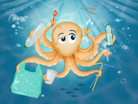 octopus with plastic objects in the sea