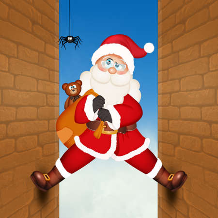 illustration of Santa Claus climbing on the homes wall Zdjęcie Seryjne
