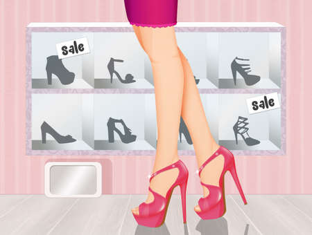 illustration of woman buys high-heeled shoes