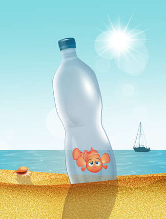 goldfish trapped in the plastic bottle