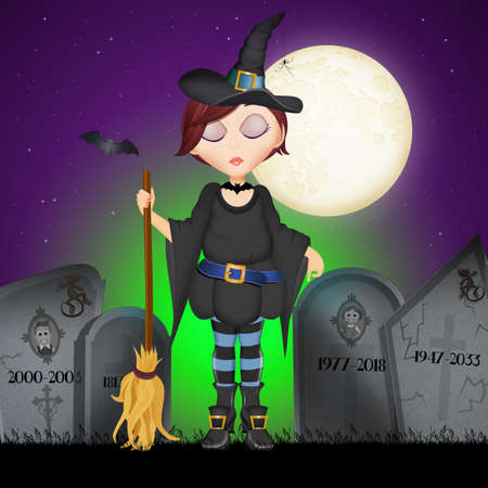 illustration of Halloween witch