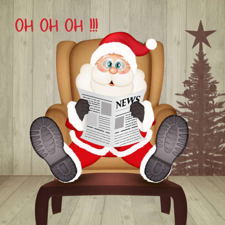 Santa Claus sitting in an armchair reads the latest news