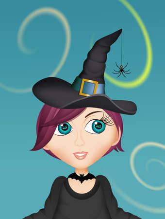 funny illustration of Halloween witch Stok Fotoğraf