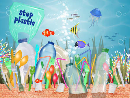 plastic waste warning in the sea