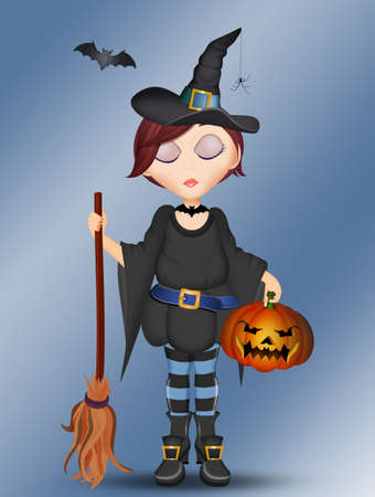 illustration of Halloween witch with pumpkin Stok Fotoğraf