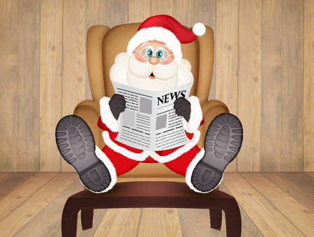 Santa Claus sitting in an armchair reads the newspaper