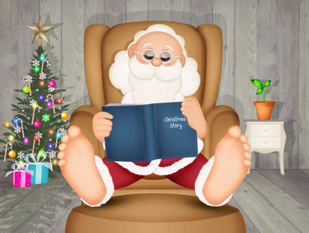 illustration of Santa Claus sitting in an armchair reads a book Stok Fotoğraf