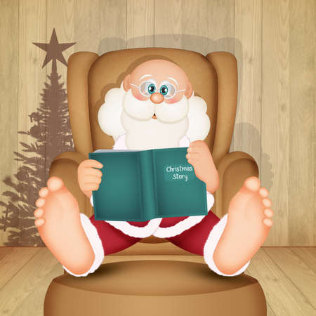 Santa Claus sitting in an armchair reads a Christmas story