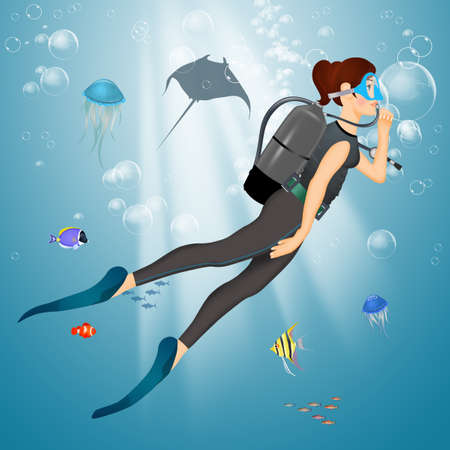 illustration of woman is diving Stok Fotoğraf