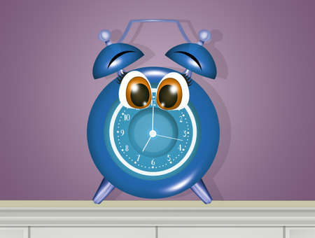 illustration of alarm clock with funny face