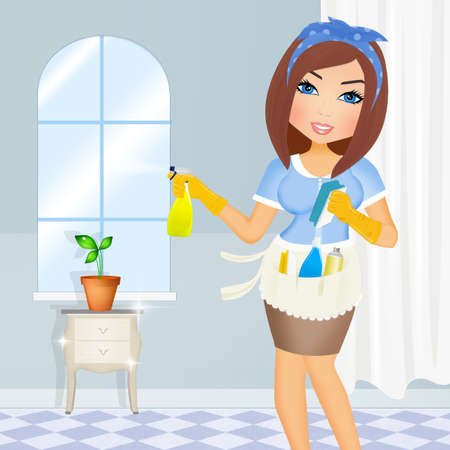 housewife does house cleaning Stok Fotoğraf