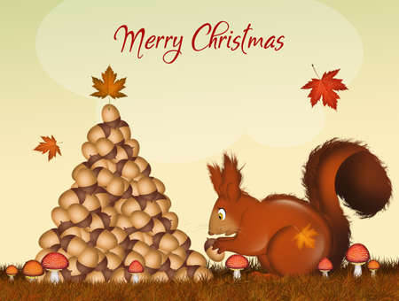 postcard for Christmas with Christmas squirrels make tree with acorns