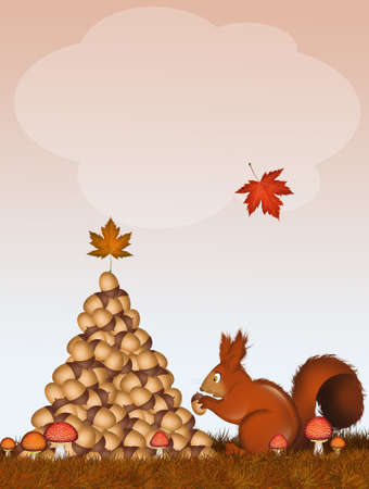 Christmas squirrels make tree with acorns