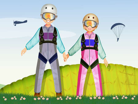 illustration of man and girl parachutists