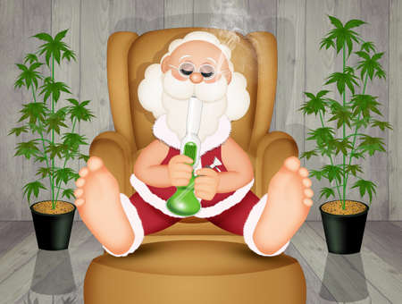 Santa Claus smokes the bong on the armchair
