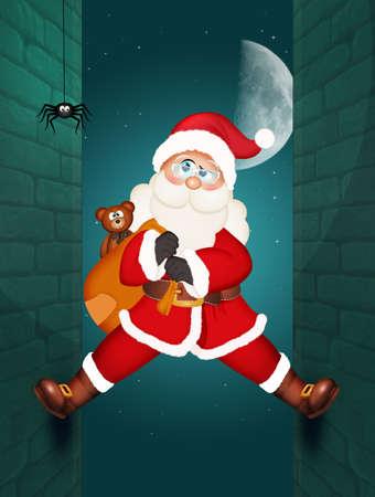 illustration of Santa Claus climbing on the homes wall Stockfoto