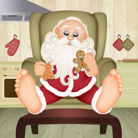 illustration of Santa Claus eats the cookies Stock Photo