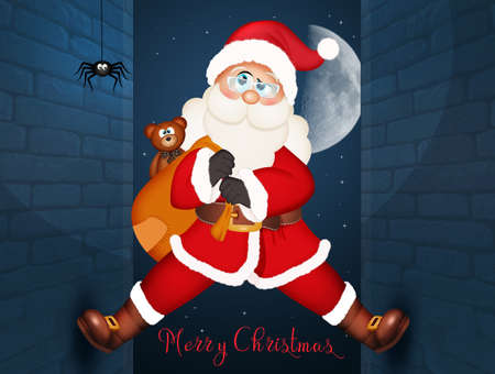illustration of Santa Claus climbing on the homes wall Stock Photo