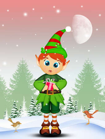 Elf with Christmas gift in winter Stock Photo