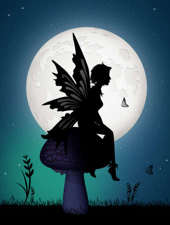 Silhouette fairy on fungus