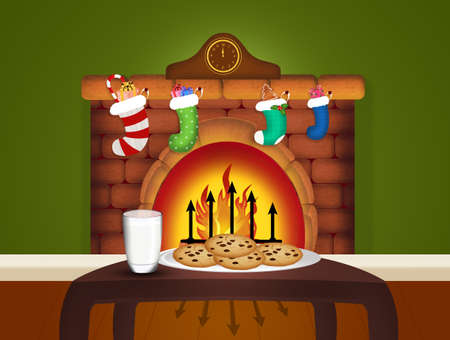 Niespodzianka dla Świętego Mikołaja z mlekiem i ciasteczkami Zdjęcie Seryjne