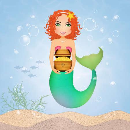 mermaid with treasure chest